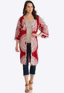 Plus Size Embroidered Duster Kimono