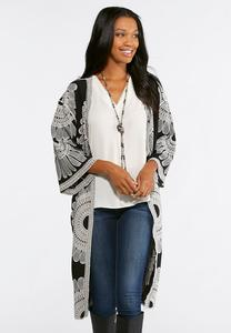 Plus Size Embroidered Duster Kimono