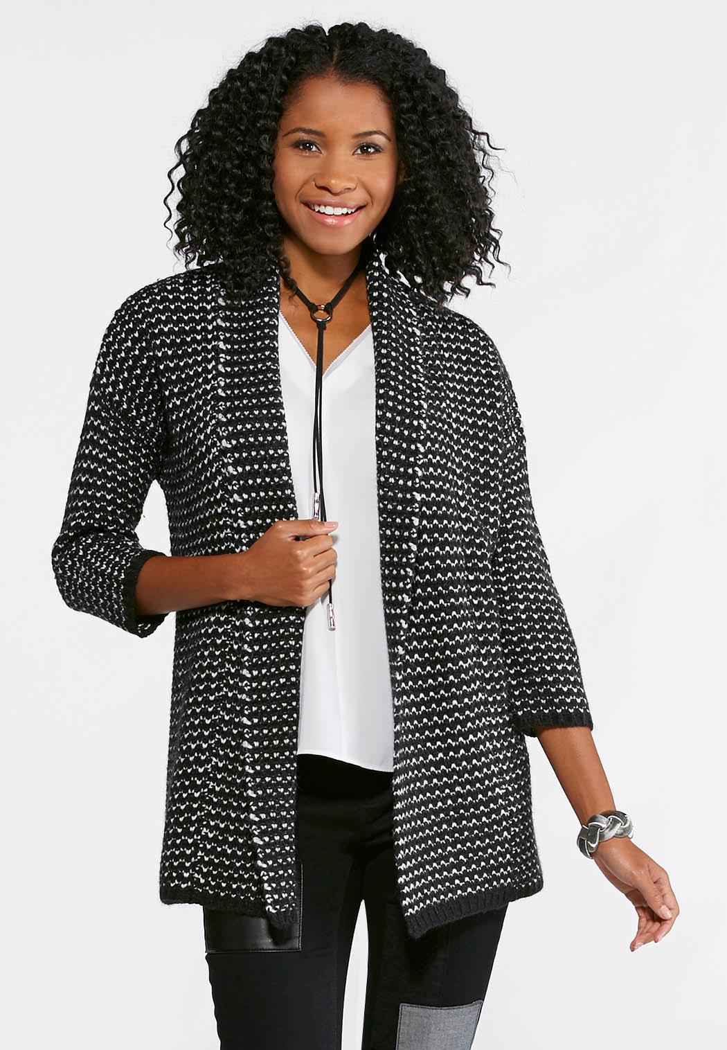 Black and White Cardigan Sweater Cardigans & Shrugs Cato Fashions