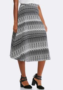 Fusion Striped A-line Skirt-Plus