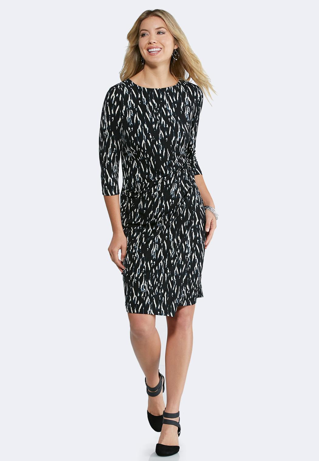 plus size printed cinch waist dress midi cato fashions