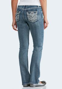 Embellished Washed Bootcut Jeans-Petite