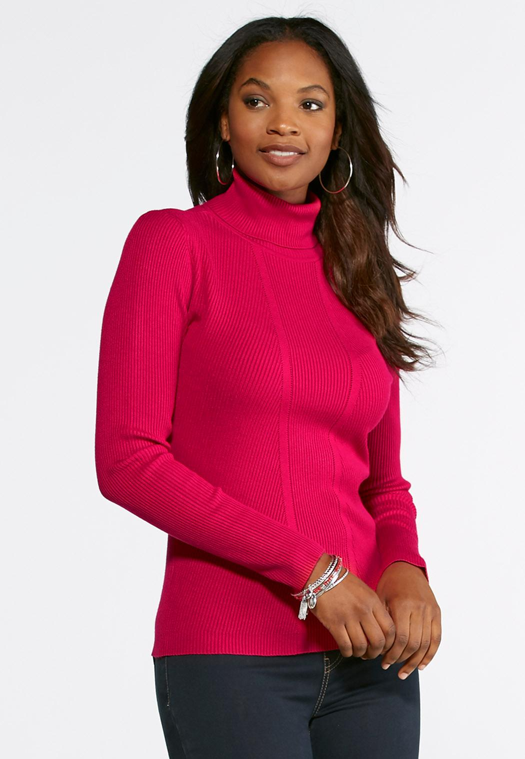 Ribbed Knit Turtleneck Sweater Pullovers Cato Fashions