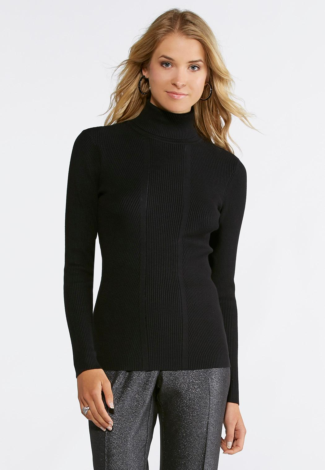 Ribbed Knit Turtleneck Sweater-Plus Pullovers Cato Fashions