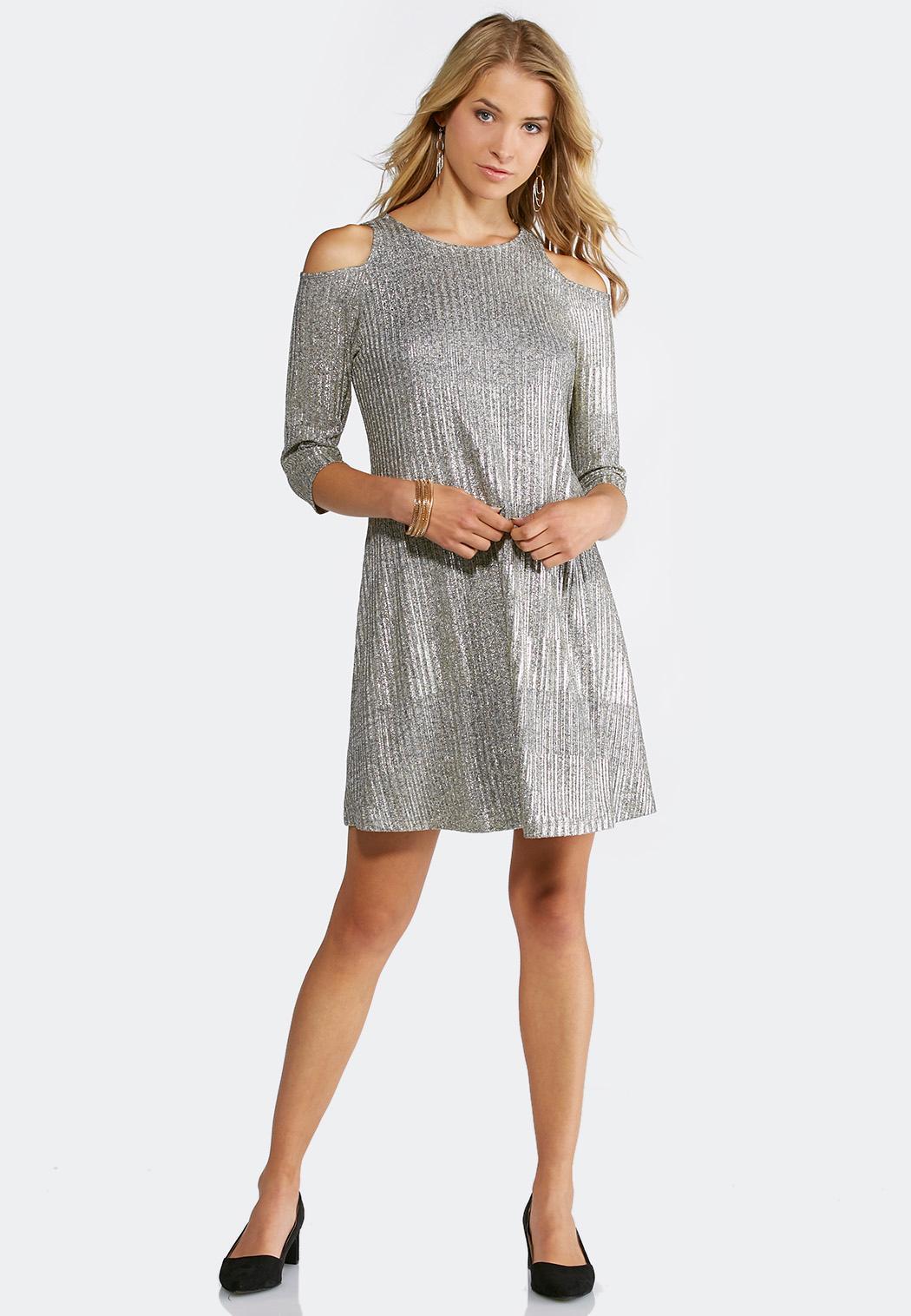 plus size cold shoulder metallic swing dress a-line & swing cato