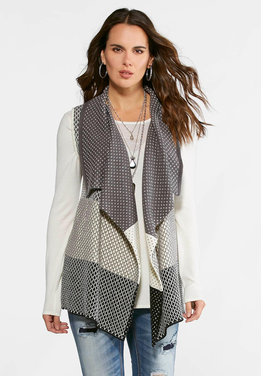 Shades Of Gray Sweater Vest-Plus Vests Cato Fashions