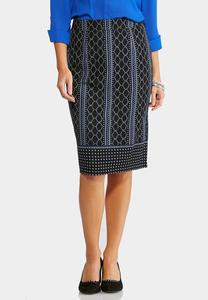 Honeycomb Striped Midi Skirt