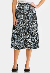 Floral Vine A-Line Skirt-Plus