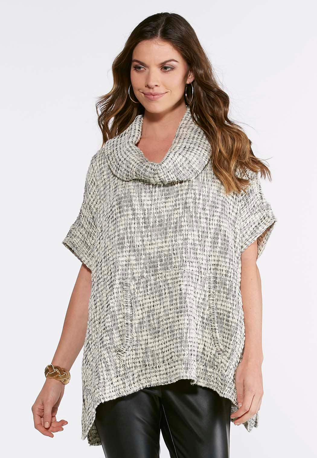 Boucle Cowl Neck Poncho-Plus Sweaters Cato Fashions