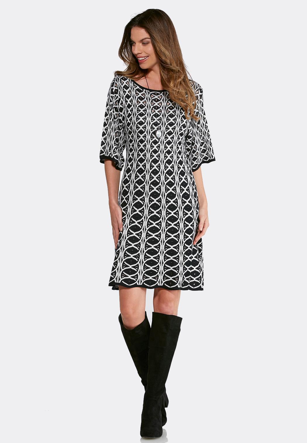 plus size jacquard sweater swing dress plus sizes cato fashions