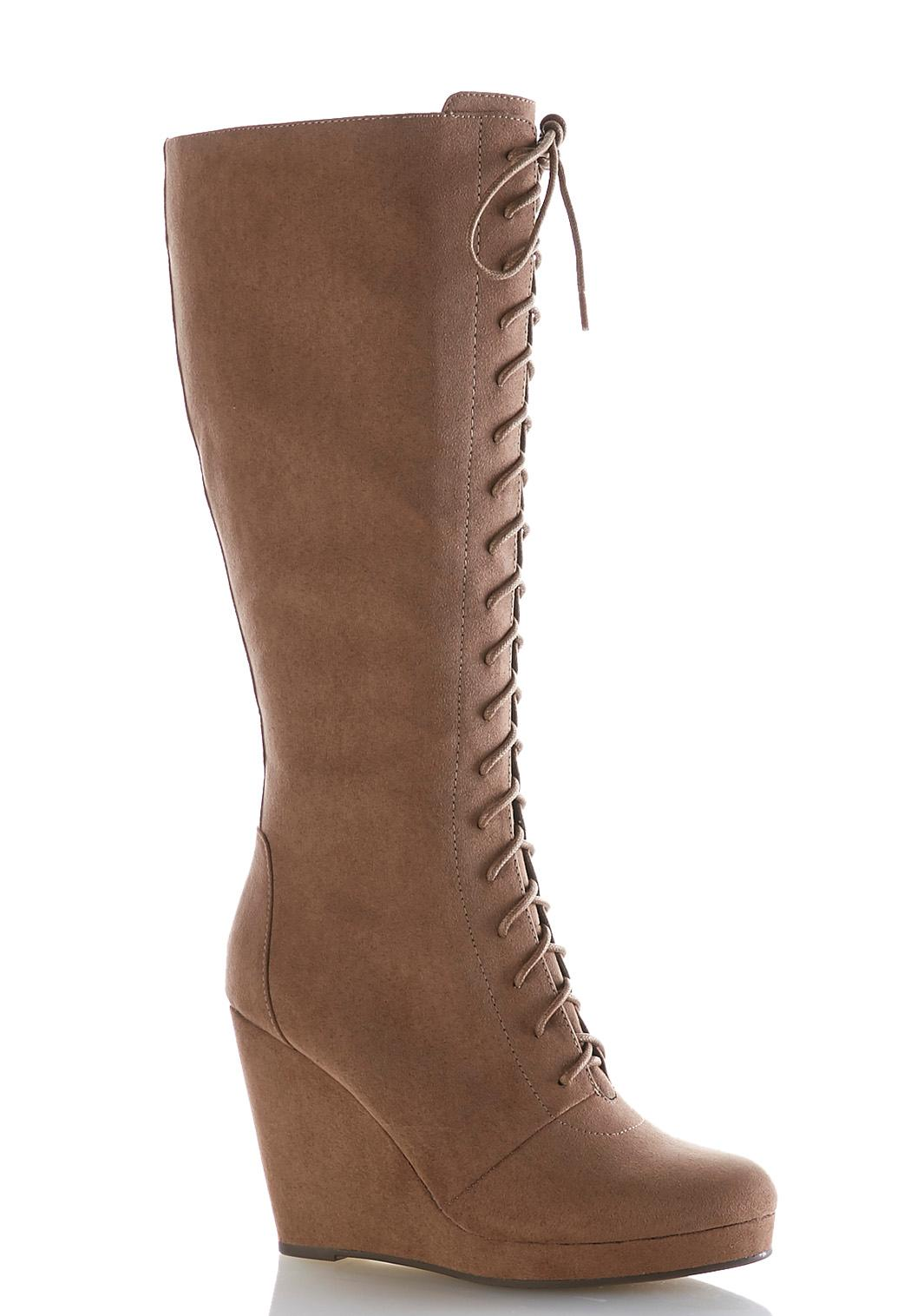 Wide Width Lace Up Tall Wedge Boots Tall Cato Fashions
