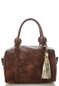 Distressed Barrel Satchel
