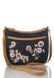 Embroidered Denim Crossbody