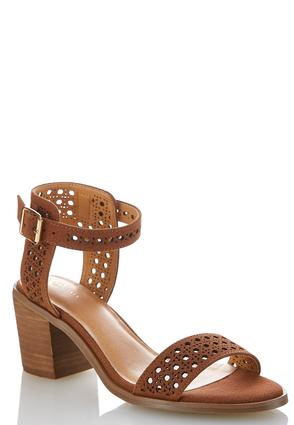 Wide Width Woven Chunky Heeled Sandals | Tuggl