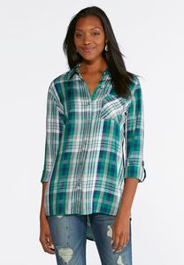Jeweled Button Plaid Shirt