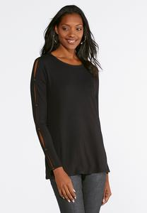 Solid Button Sleeve Top