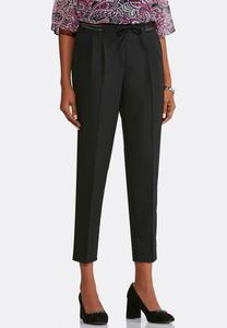 Drawstring Satin Trim Ankle Pants