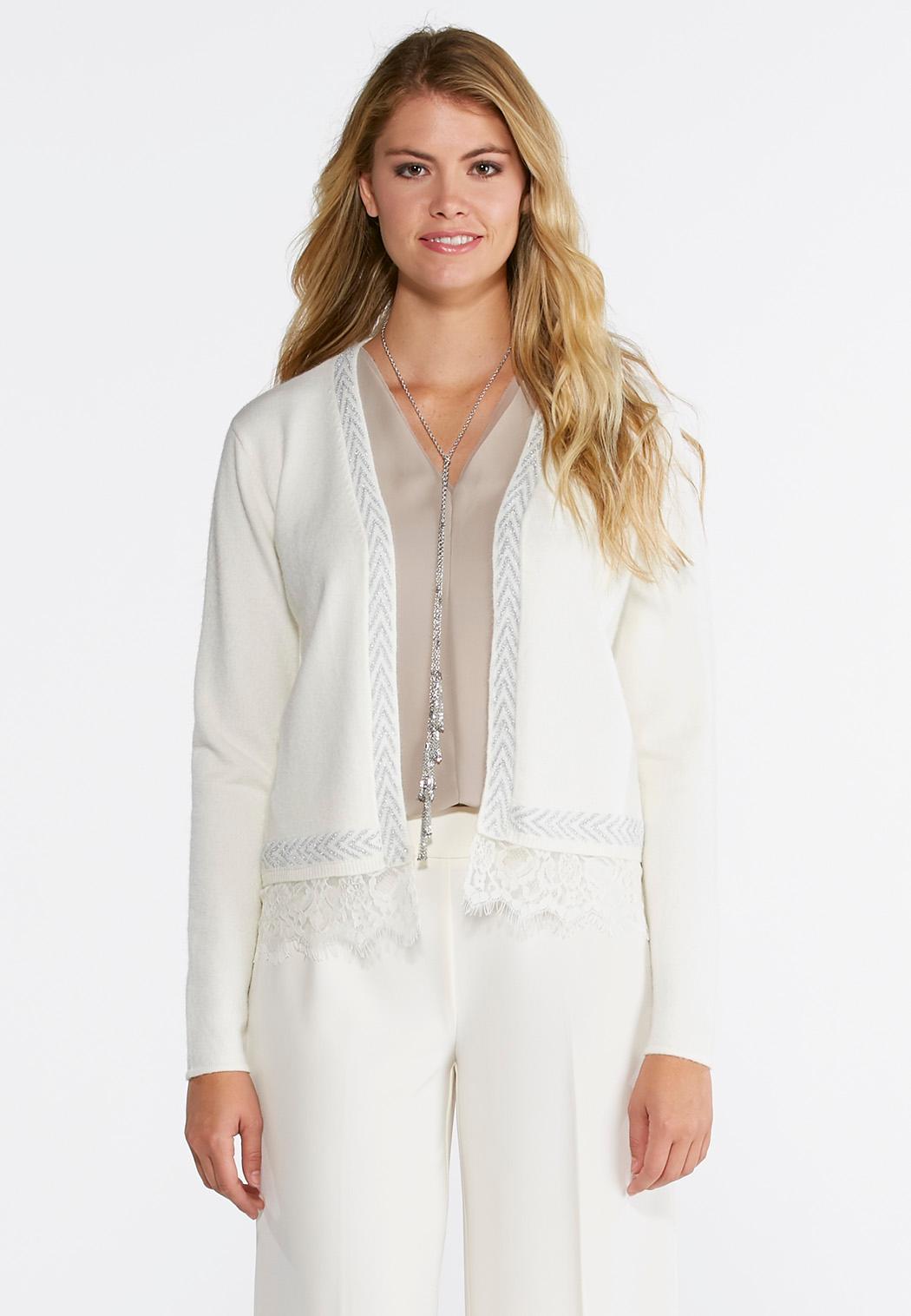 Lace Trim Cardigan-Plus Cardigans & Shrugs Cato Fashions