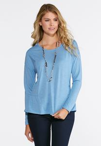 Seamed Ruffle Hem Top- Plus