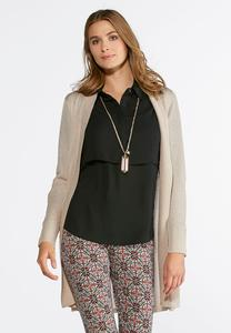 Ribbed Duster Cardigan- Plus