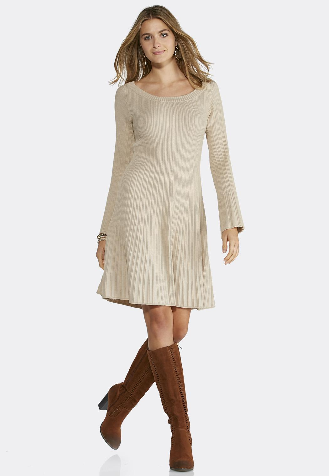 Fit and Flare Ribbed Sweater Dress Junior/Misses Cato Fashions