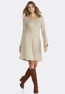 Fit and Flare Ribbed Sweater Dress