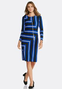 Plus Size Geo Striped Dress