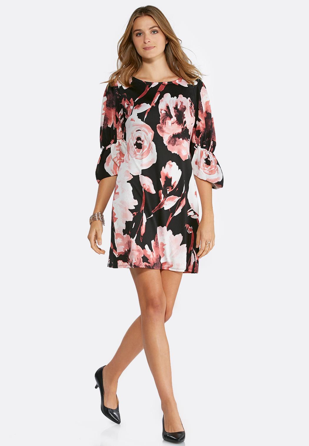 Plus Size Floral Balloon Sleeve Dress Plus Sizes Cato Fashions