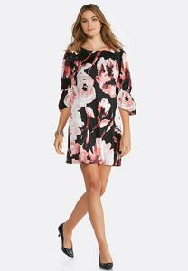 Plus Size Floral Balloon Sleeve Dress