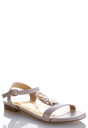 Wide Width Embellished T-Strap Sandals | Tuggl