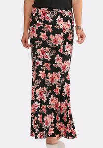Bouquet Mermaid Maxi Skirt-Plus