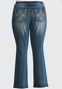 Two-Toned Cross Embelllished Jeans-Plus Petite