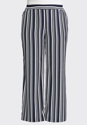 Striped Wide Leg Pants- Plus