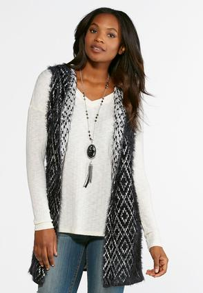 eyelash hooded sweater vest-plus vests cato fashions
