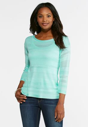 Pointelle Striped Sweater   Tuggl