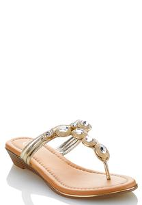Jeweled Wedge Sandals