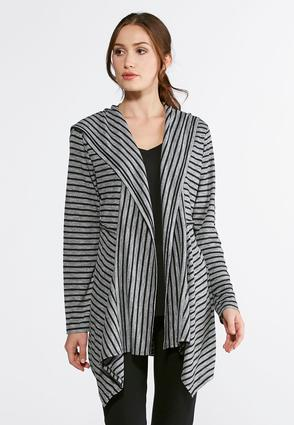 Striped Hooded Cardigan- Plus