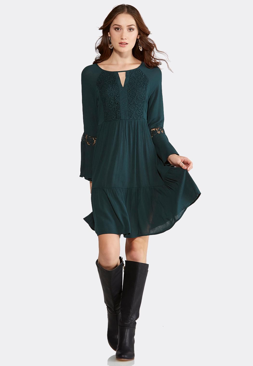 Plus Size Gauzy Lace Peasant Dress A-line & Swing Cato