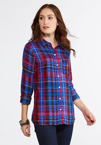 Vibrant Plaid Button Down Shirt- Plus