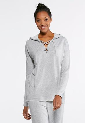 Lace Up Hoodie- Plus