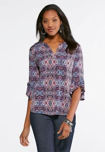 Orchid Paisley Ruffle Top-Plus
