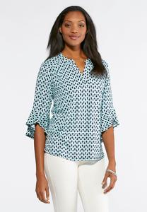Loop Ruffle Sleeve Top-Plus