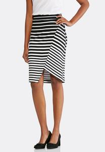 Striped Faux Wrap Midi Skirt
