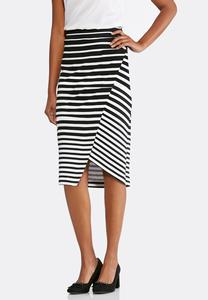 Striped Faux Wrap Midi Skirt-Plus