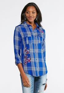 Embroidered Gingham Plaid Shirt