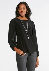 Pleated Sleeve Top- Plus