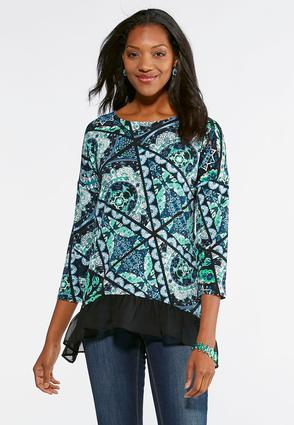 Floral Diamond Ruffled Top- Plus