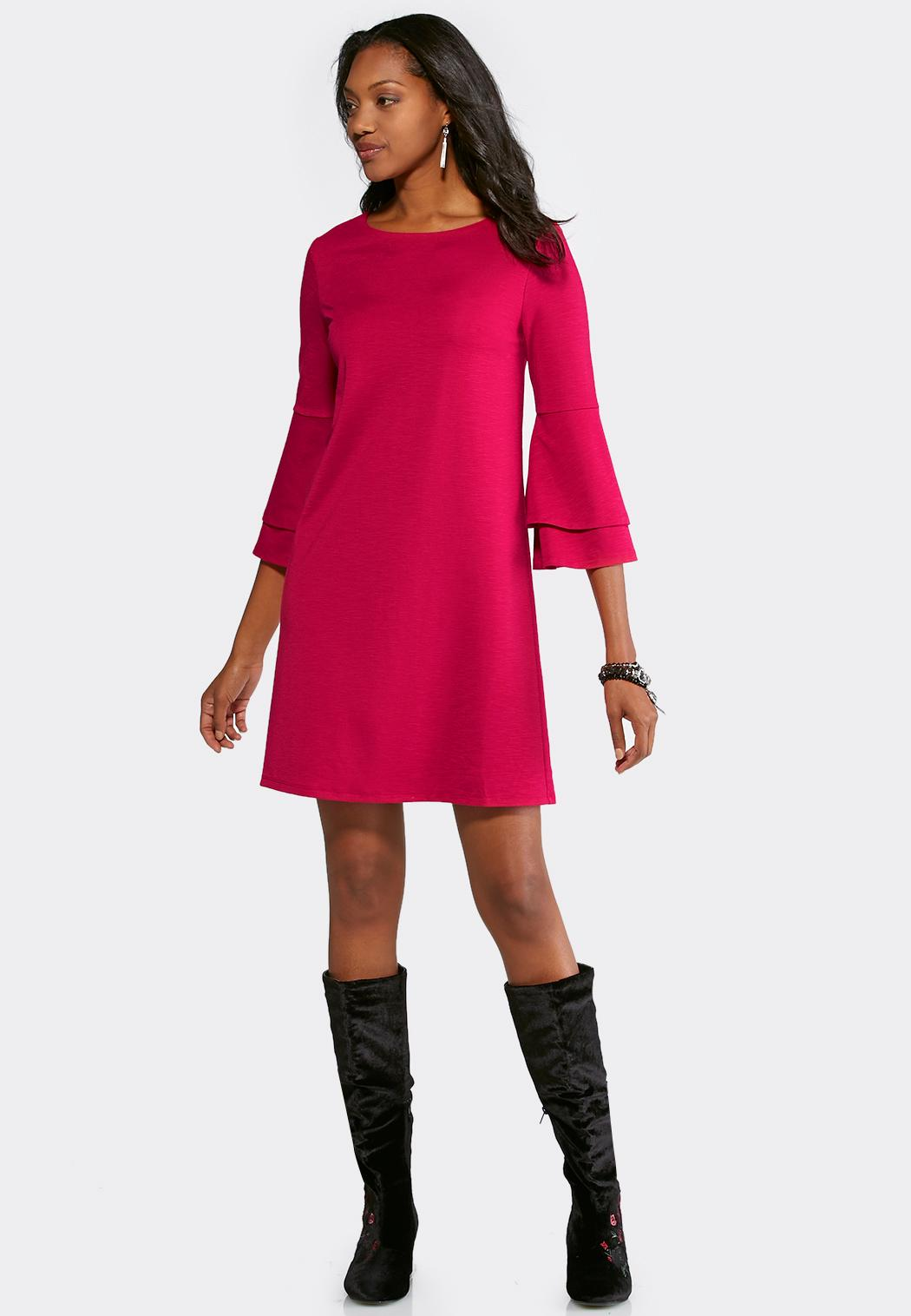 Plus Size Double Ruffle Bell Sleeve Dress Plus Sizes Cato Fashions