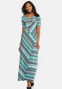 Mixed Striped Maxi Dress-Petite