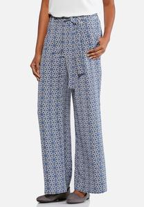 Medallion Pull-On Tie Waist Pants